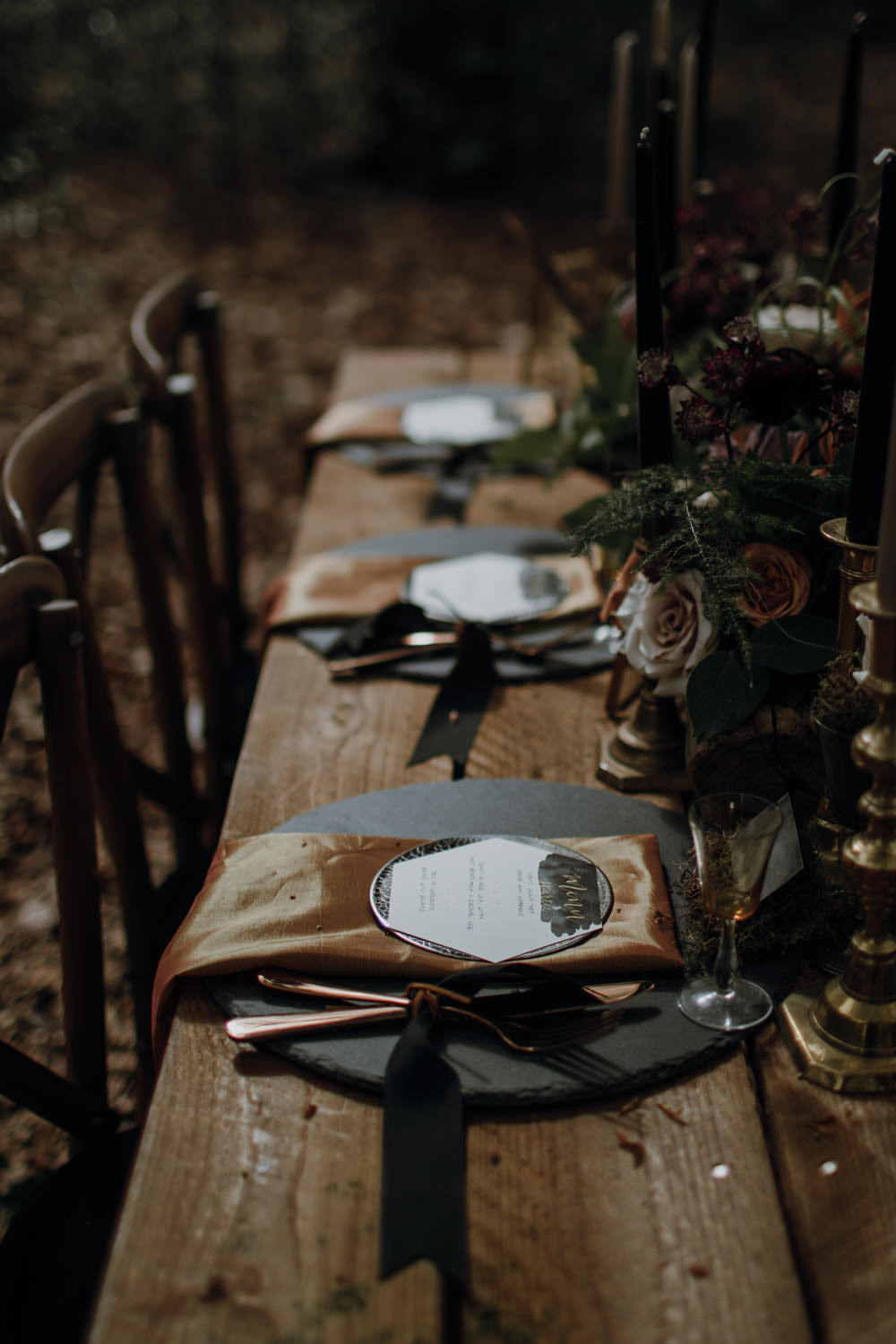 Table Setting Tablescape Decor Black Gold Place Names Calligraphy Candles Flowers Modern Gothic Woods Wedding Ideas Ayelle Photography
