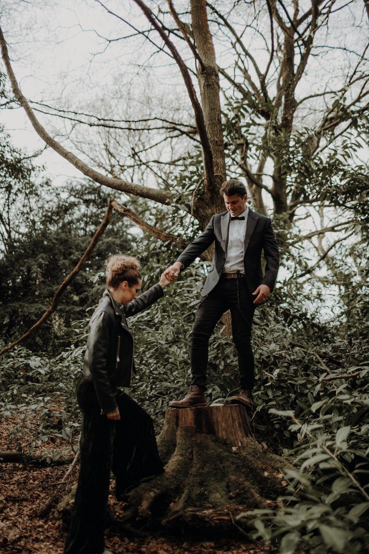Tuxedo Groom Suit Bow Tie Modern Gothic Woods Wedding Ideas Ayelle Photography