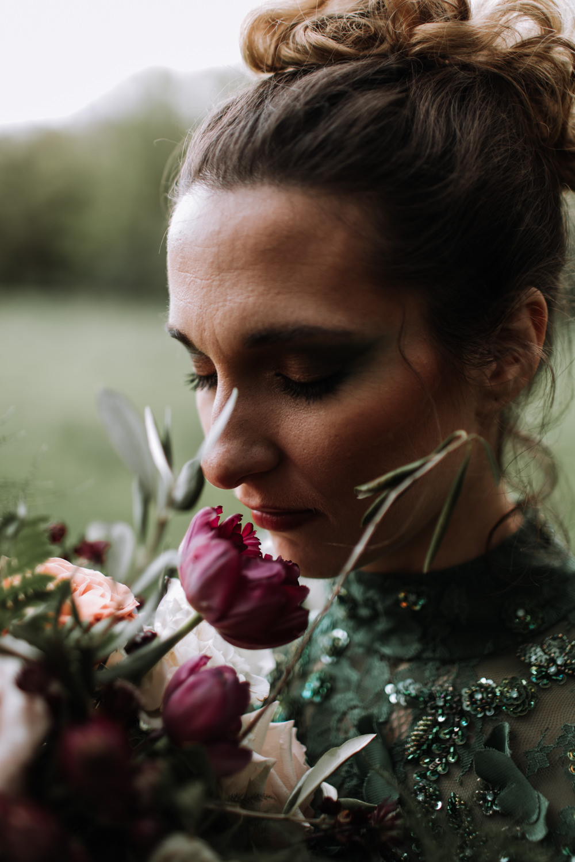 Bride Bridal Make Up Bouquet Modern Gothic Woods Wedding Ideas Ayelle Photography