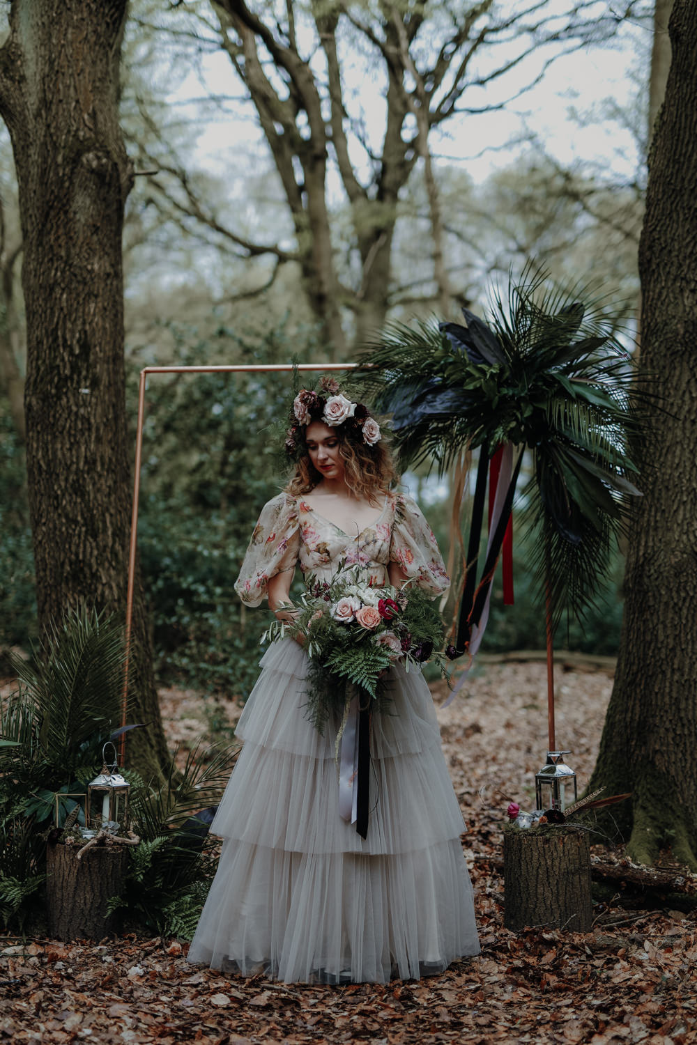 Bride Bridal Dress Gown Tulle Layer Skirt Balloon Sleeves Floral Top Modern Gothic Woods Wedding Ideas Ayelle Photography