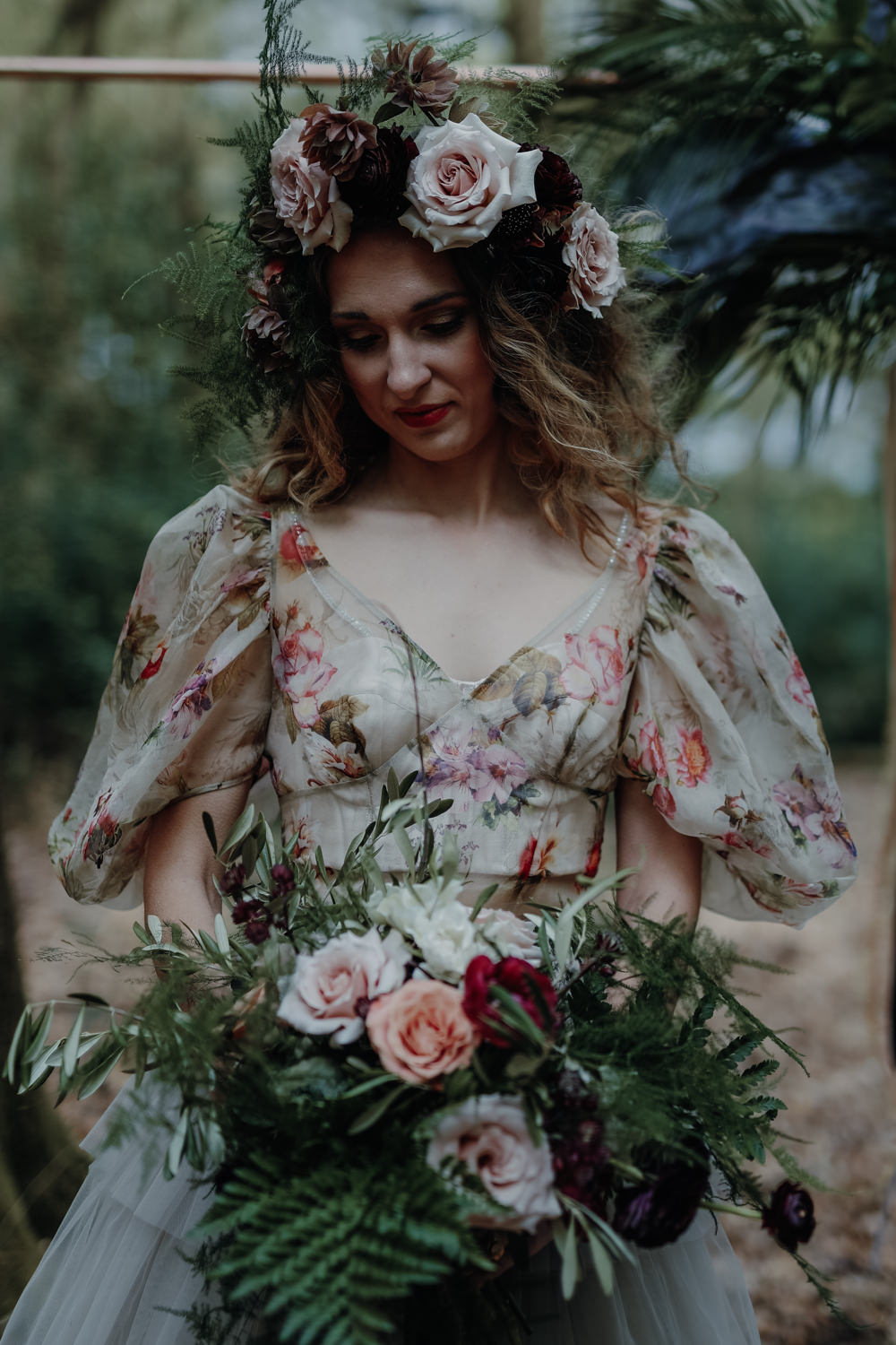 Bride Bridal Dress Gown Tulle Layer Skirt Balloon Sleeves Floral Top Bouquet Wild Large Bride Bridal Fern Foliage Rose Greenery Flower Crown Modern Gothic Woods Wedding Ideas Ayelle Photography