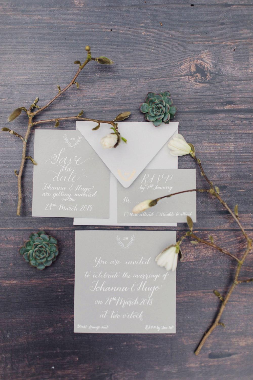 White Grey Stationery Calligraphy Invites Invitation Suite Nordic Woodland Elopement Wedding Ideas Nina Wernicke Photography