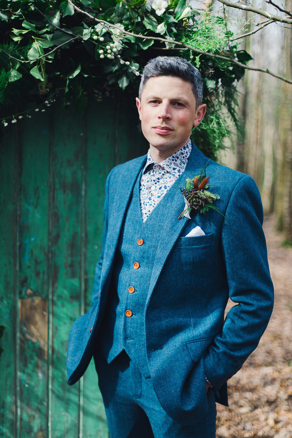 Groom Blue Suit Waistcoat Floral Shirt Nordic Woodland Elopement Wedding Ideas Nina Wernicke Photography