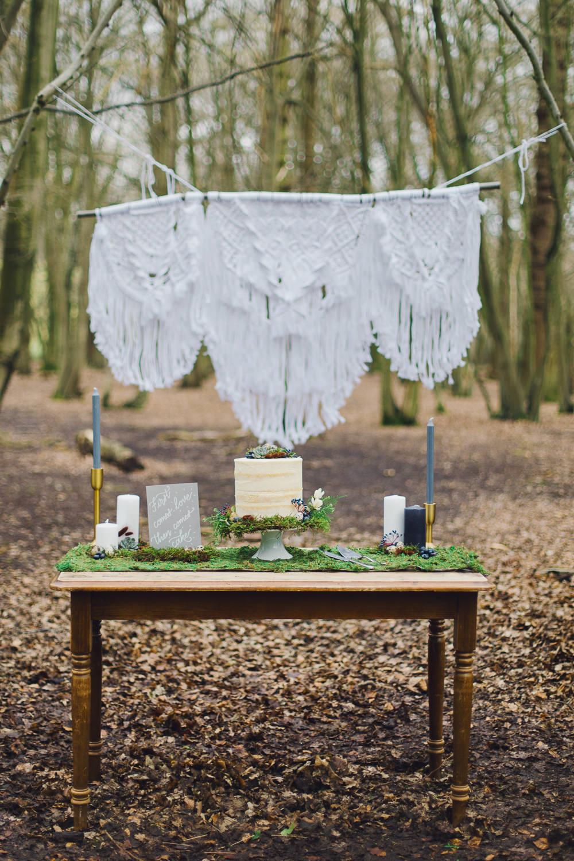 Cake Table Rustic Wooden Moss Macrame Backdrop Naked Semi Nordic Woodland Elopement Wedding Ideas Nina Wernicke Photography