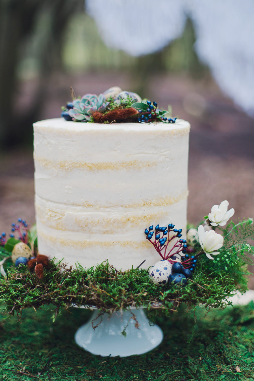 Semi Naked Cake Sponge Layer Moss Flowers Eggs Decor Nordic Woodland Elopement Wedding Ideas Nina Wernicke Photography