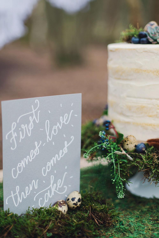 White Grey Stationery Calligraphy Cake Sign Nordic Woodland Elopement Wedding Ideas Nina Wernicke Photography
