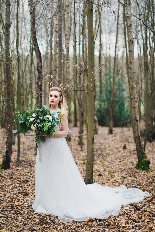 Dress Bride Bridal Gown Train Tulle Nordic Woodland Elopement Wedding Ideas Nina Wernicke Photography