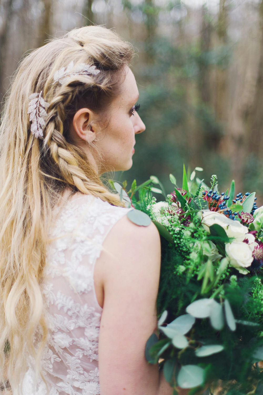 Make Up Natural Bride Bridal Hair Loose Long Waves Plaits Braids Nordic Woodland Elopement Wedding Ideas Nina Wernicke Photography