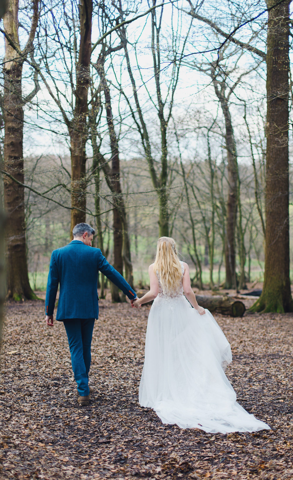 Dress Bride Bridal Gown Train Tulle Floral Flowers Nordic Woodland Elopement Wedding Ideas Nina Wernicke Photography