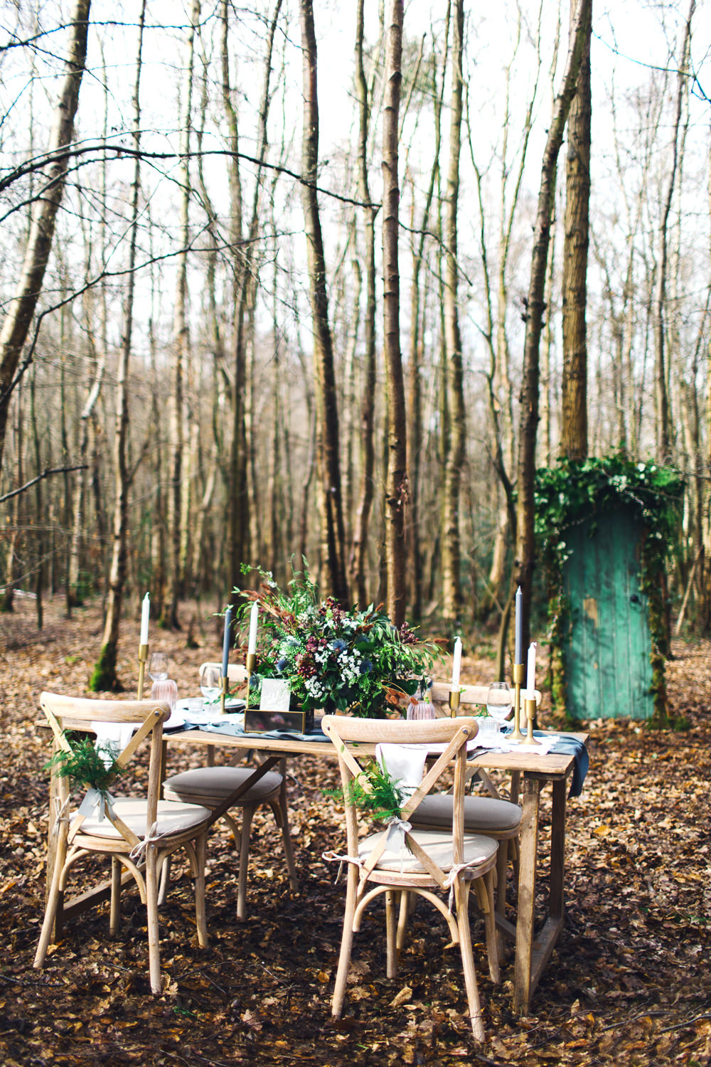 Tablescape Outdoor Woods Rustic Furniture Nordic Woodland Elopement Wedding Ideas Nina Wernicke Photography