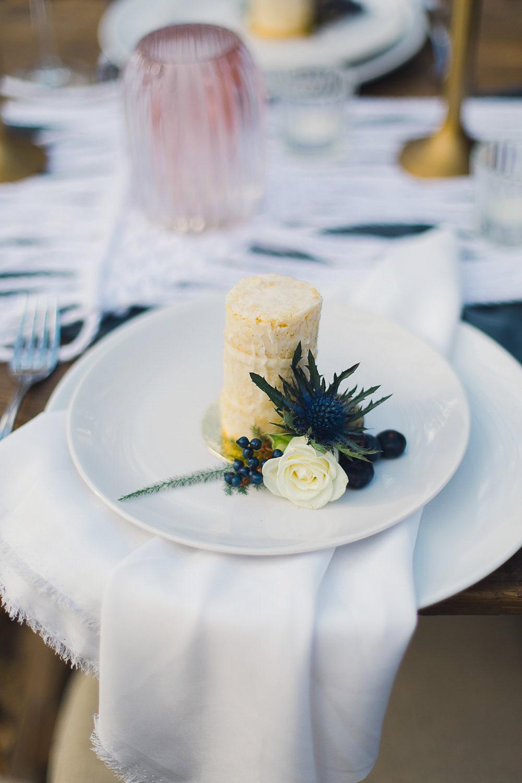 Small Mini Tiny Naked Cake Semii Favour Place Setting Flowers Thistle Nordic Woodland Elopement Wedding Ideas Nina Wernicke Photography