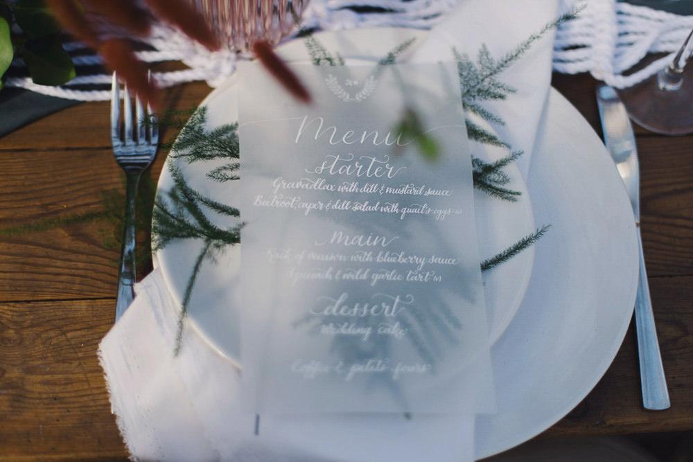 Glassine White Grey Stationery Calligraphy Invites Invitation Suite Menu Nordic Woodland Elopement Wedding Ideas Nina Wernicke Photography