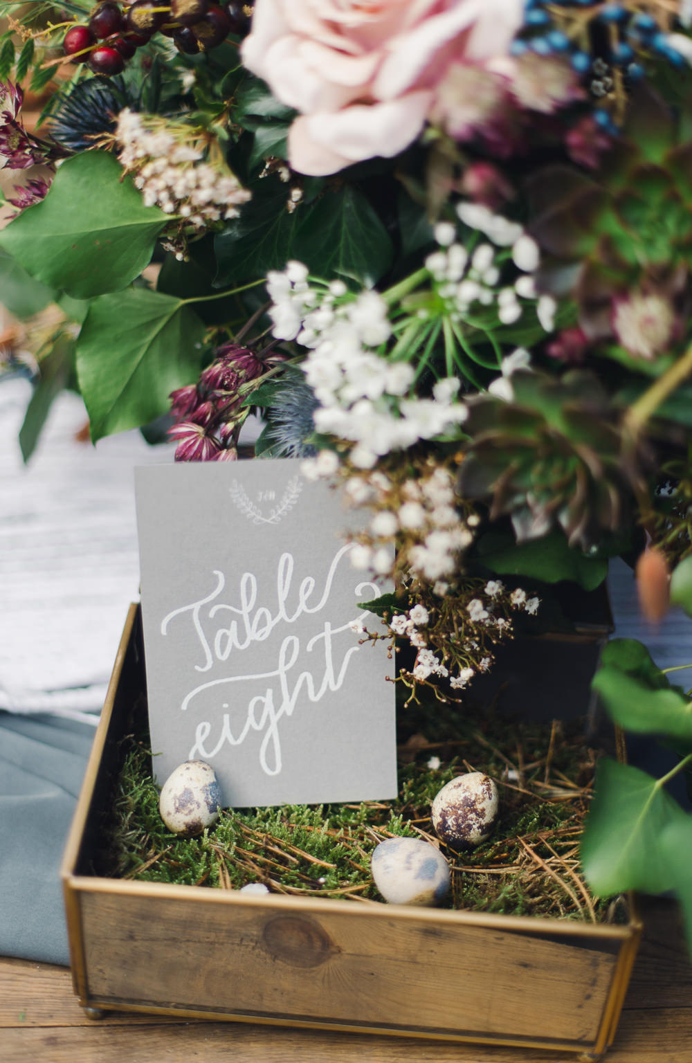 White Grey Stationery Calligraphy Table Number Nordic Woodland Elopement Wedding Ideas Nina Wernicke Photography