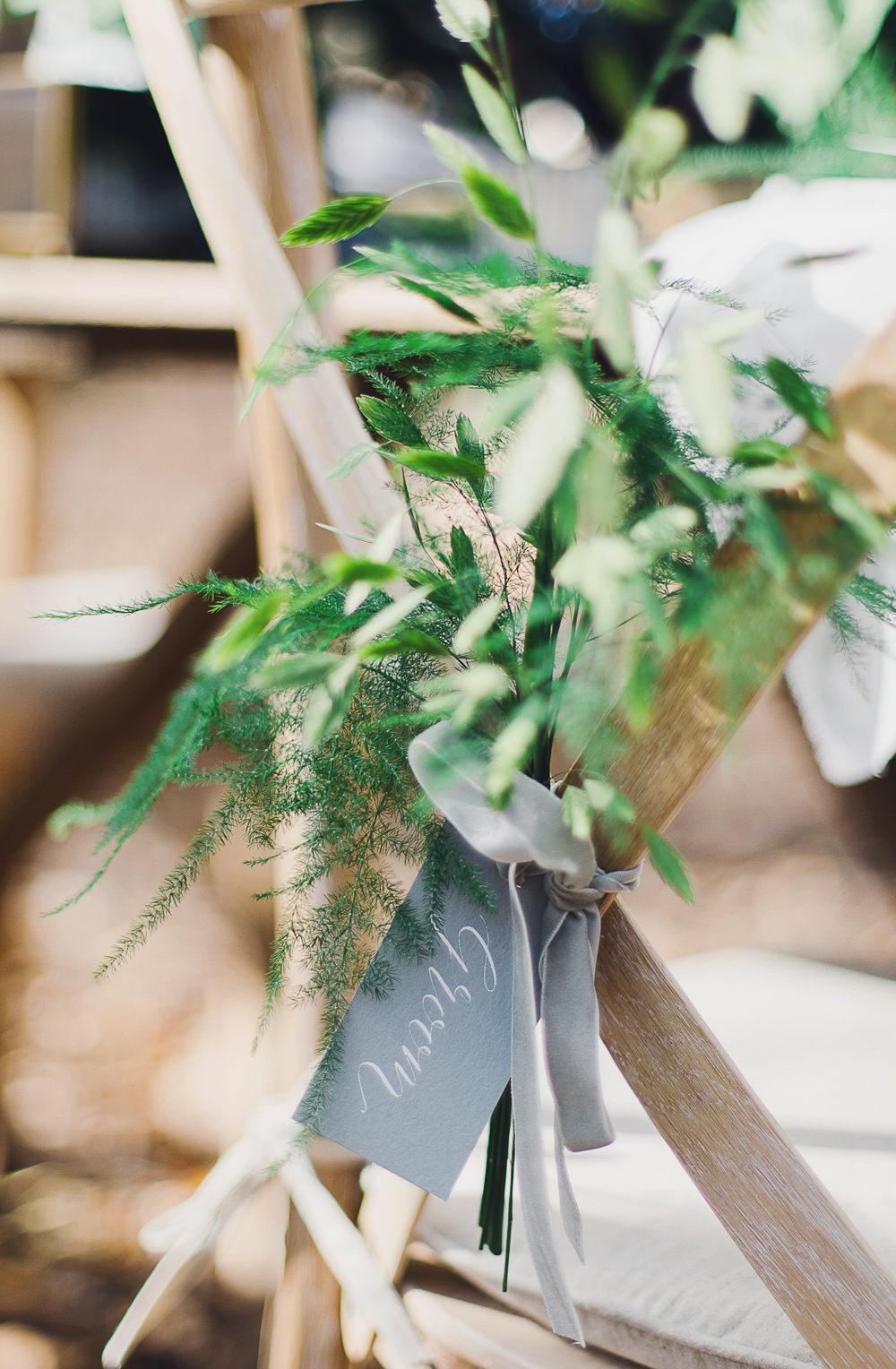 Chair Flowers Greenery Velvet Ribbon Grey Name Tag Nordic Woodland Elopement Wedding Ideas Nina Wernicke Photography