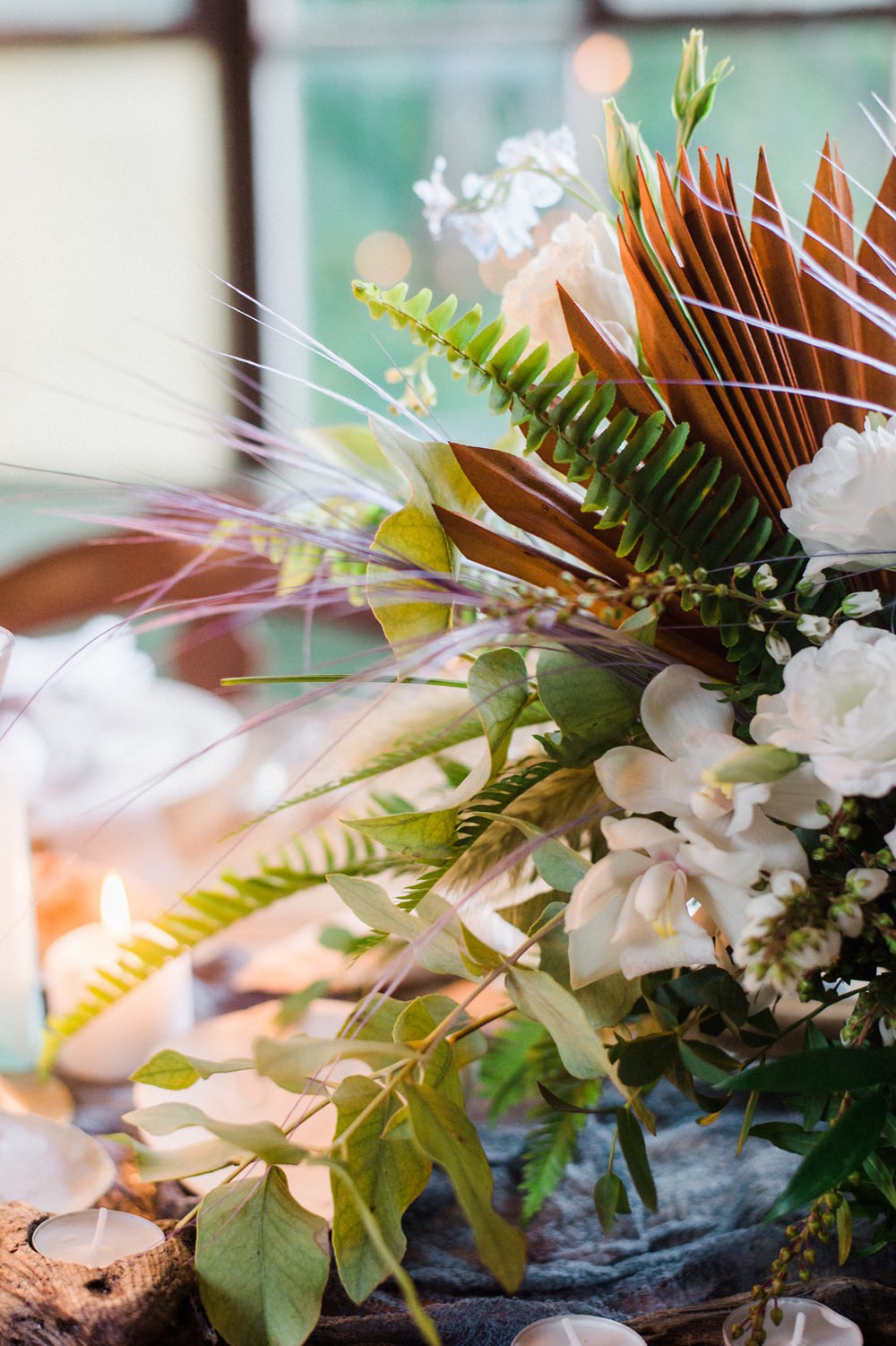 Nature Inspired Styled Shoot Seashell Tablescape Candles Grey Blue Dahlia Fern Floral Centrepiece   Ocean Wedding Ideas Industrial Rachel Watkinson Photography