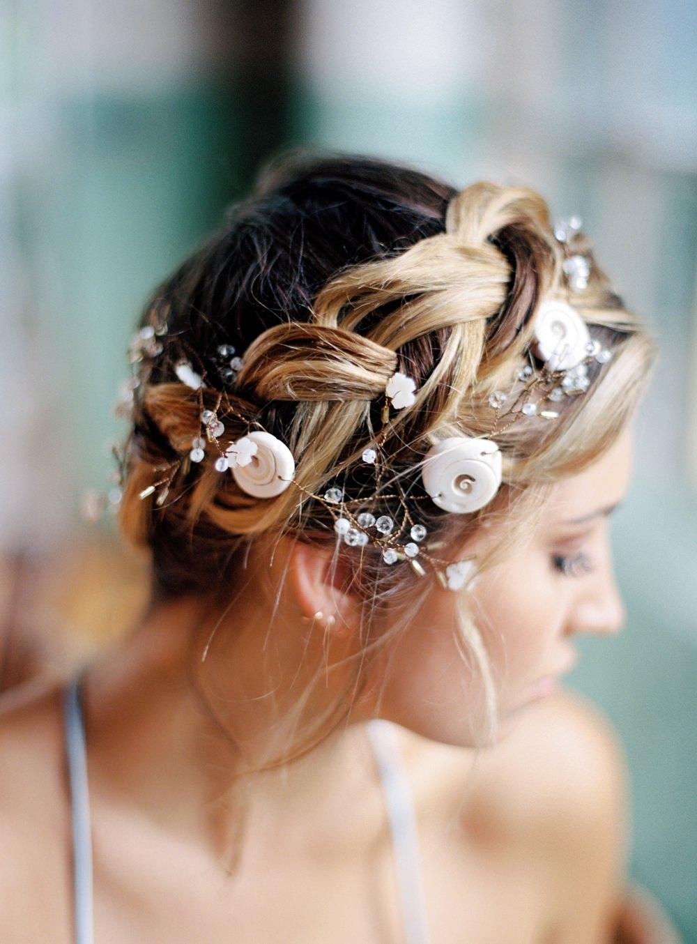 Nature Inspired Styled Shoot Seashell Headpiece Braided Updo Bride Blue Dress   Ocean Wedding Ideas Industrial Rachel Watkinson Photography