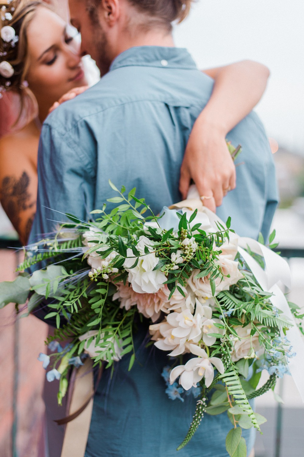 Bouquet Bride Bridal Peach Blush Dahlia Greenery Ocean Wedding Ideas Industrial Rachel Watkinson Photography