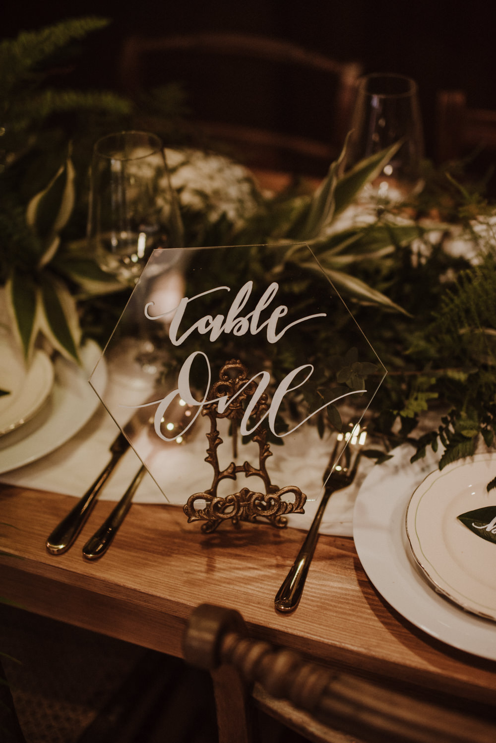 Table Setting Glass Perspex Number Fern Greenery Organic Foliage Wedding Ideas Rubie Love Photography