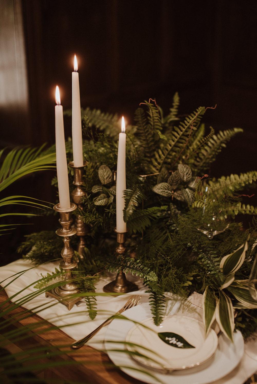 Table Setting Fern Greenery Candle Sticks Organic Foliage Wedding Ideas Rubie Love Photography