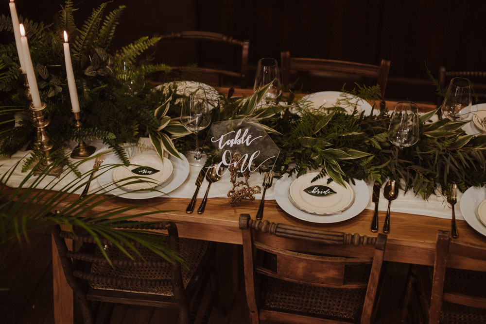 Table Setting Glass Perspex Number Fern Greenery Candle Sticks Organic Foliage Wedding Ideas Rubie Love Photography