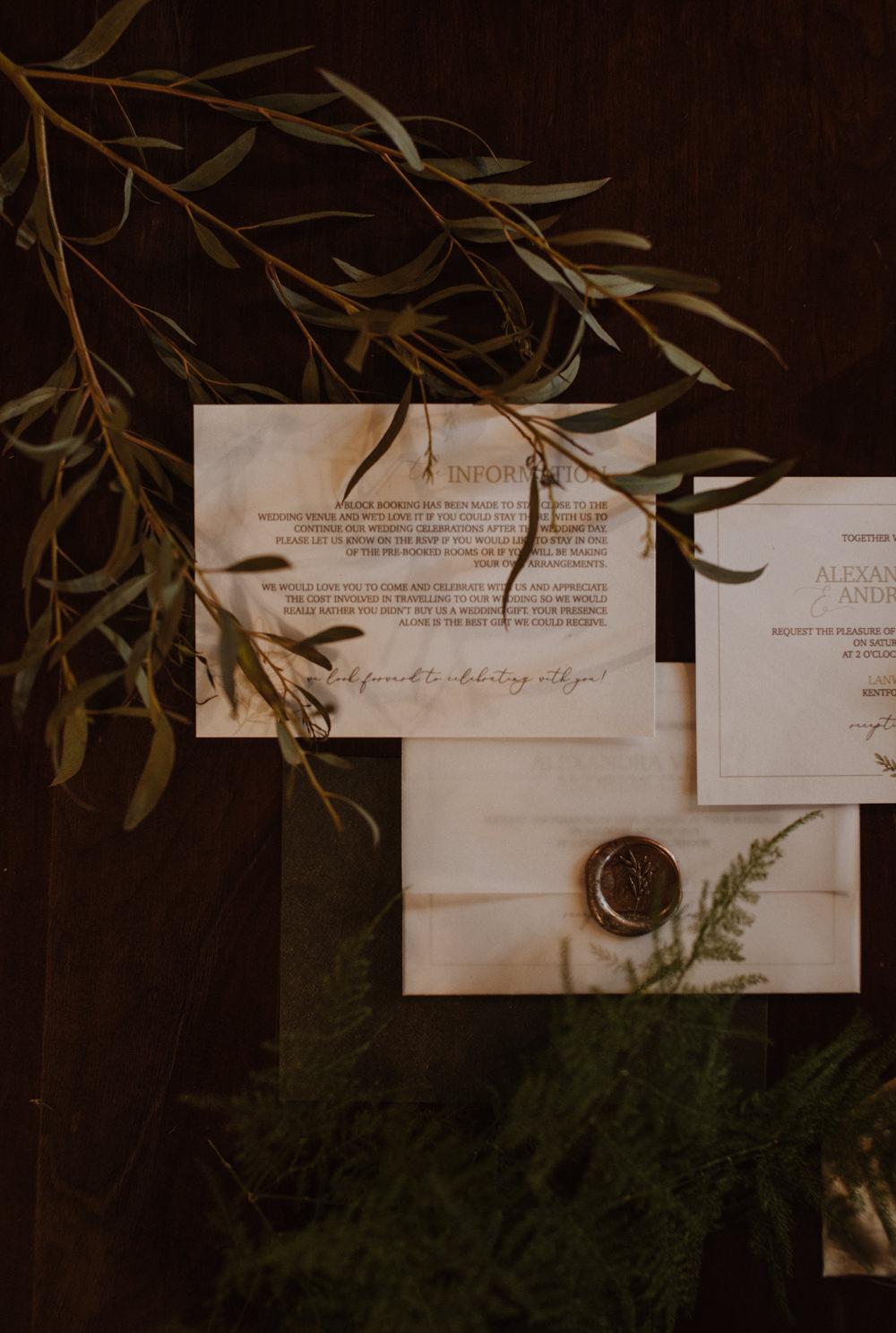 Greenery Foliage Stationery Wax Seal Olive Branch Fern Organic Foliage Wedding Ideas Rubie Love Photography