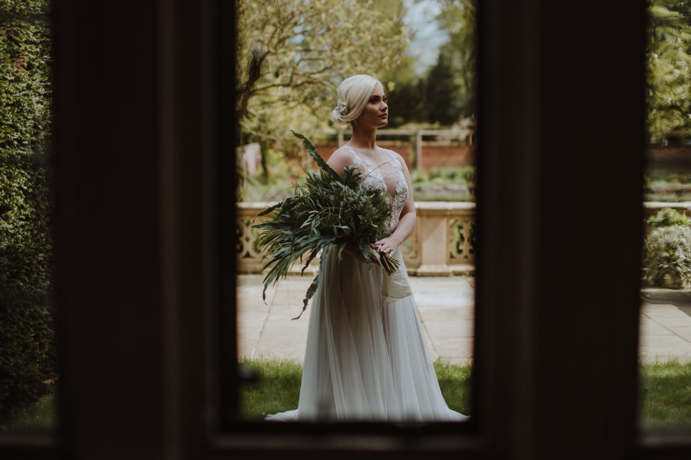 Bride Bridal Illusion Dress Gown Lace A Line Greenery Foliage Bouquet Organic Foliage Wedding Ideas Rubie Love Photography