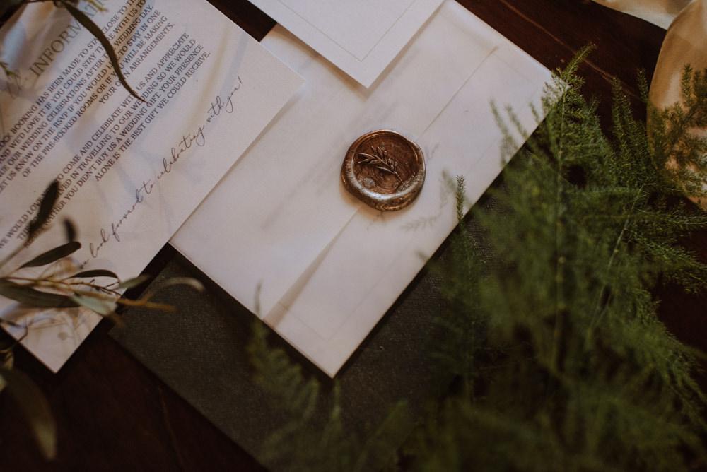 Invitation Stationery Wax Seal Fern Invitation Stationery Wax Seal Fern Organic Foliage Wedding Ideas Rubie Love Photography