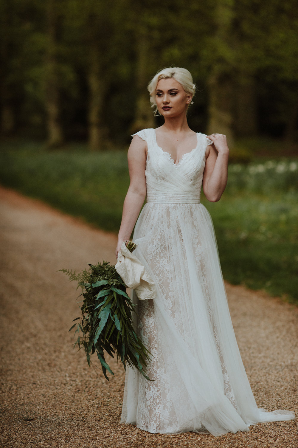 Bride Bridal Dress Gown Lace V Neck A Line Greenery Foliage Bouquet Organic Foliage Wedding Ideas Rubie Love Photography
