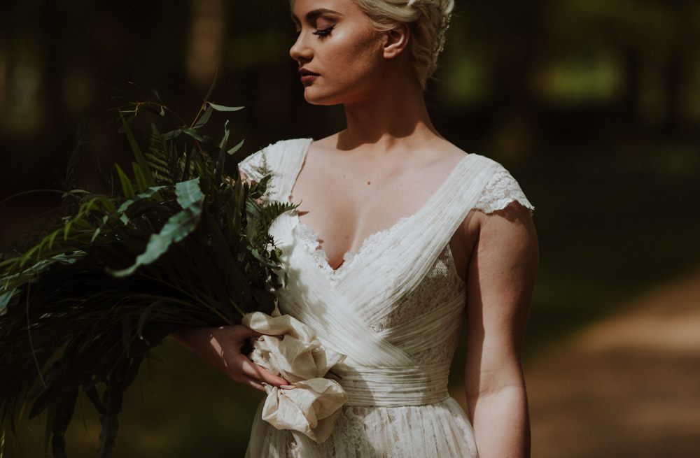 Bride Bridal Dress Gown Lace V Neck A Line Greenery Foliage Bouquet Wrap Front Organic Foliage Wedding Ideas Rubie Love Photography