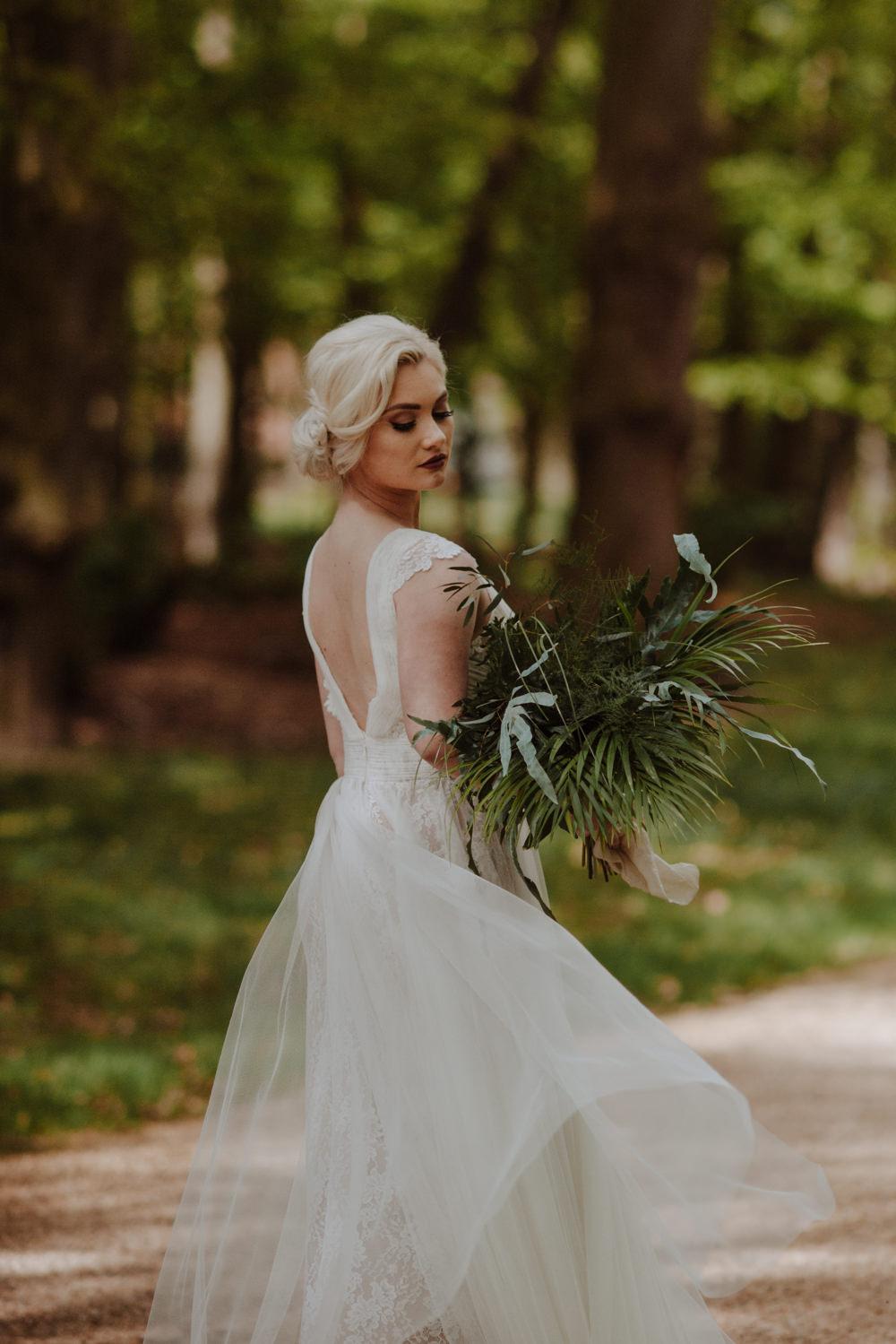 Bride Bridal Dress Gown Lace V Back A Line Greenery Foliage Bouquet Organic Foliage Wedding Ideas Rubie Love Photography