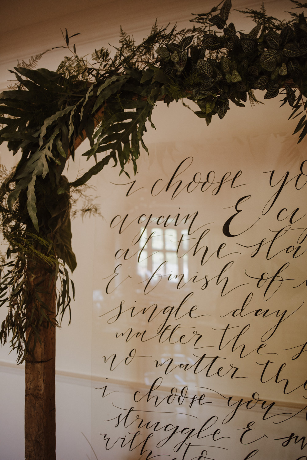 Calligraphy Perspex Sign Signage Greenery Organic Foliage Wedding Ideas Rubie Love Photography