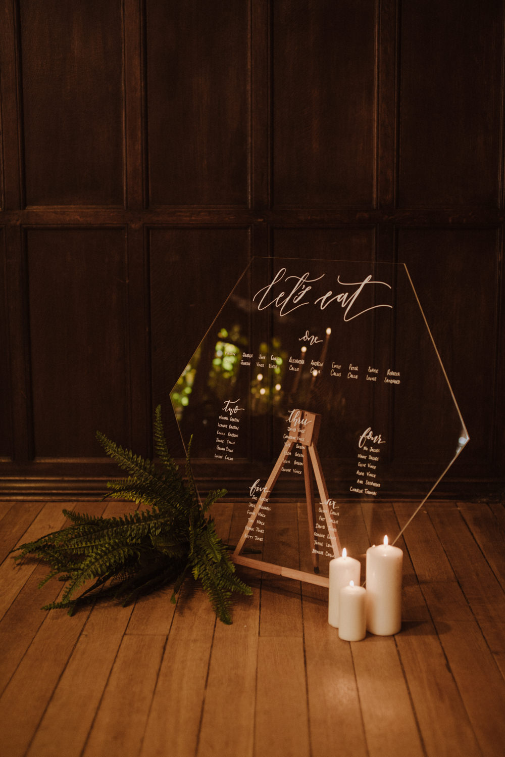 Glass Perspex Table Plan Seating Chart Modern Calligraphy Fern Candles Organic Foliage Wedding Ideas Rubie Love Photography