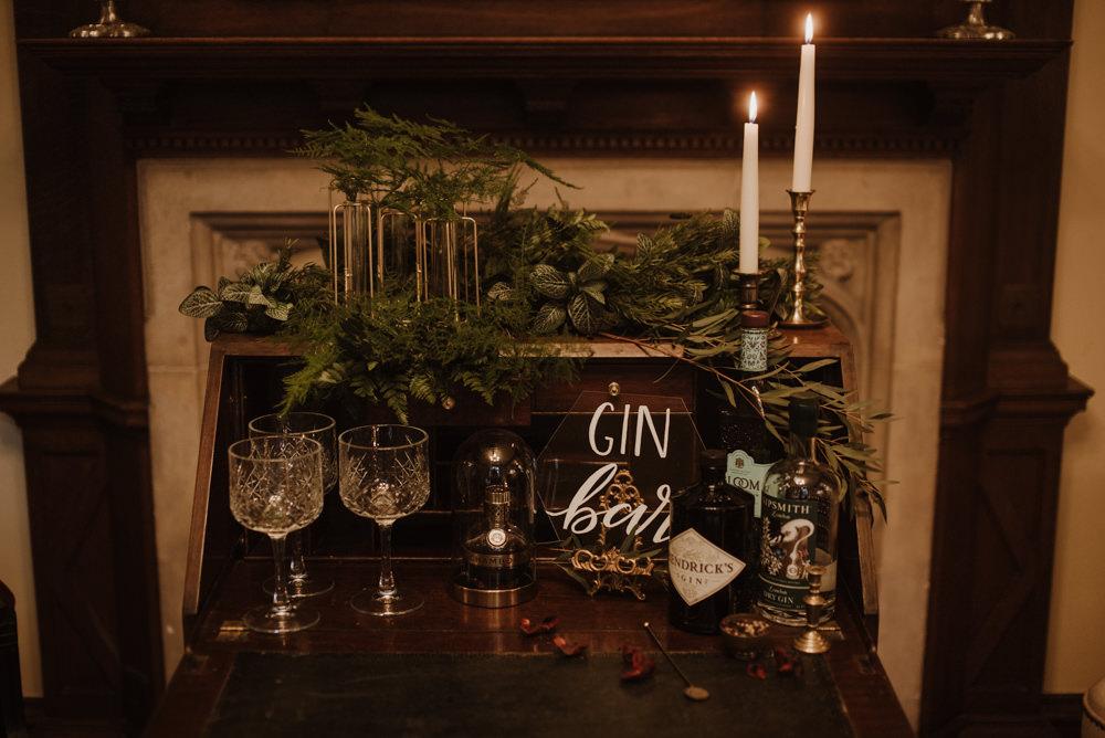 Gin Bar Bureau Greenery Fern Glass Perspex Calligraphy Crystal Glass Organic Foliage Wedding Ideas Rubie Love Photography