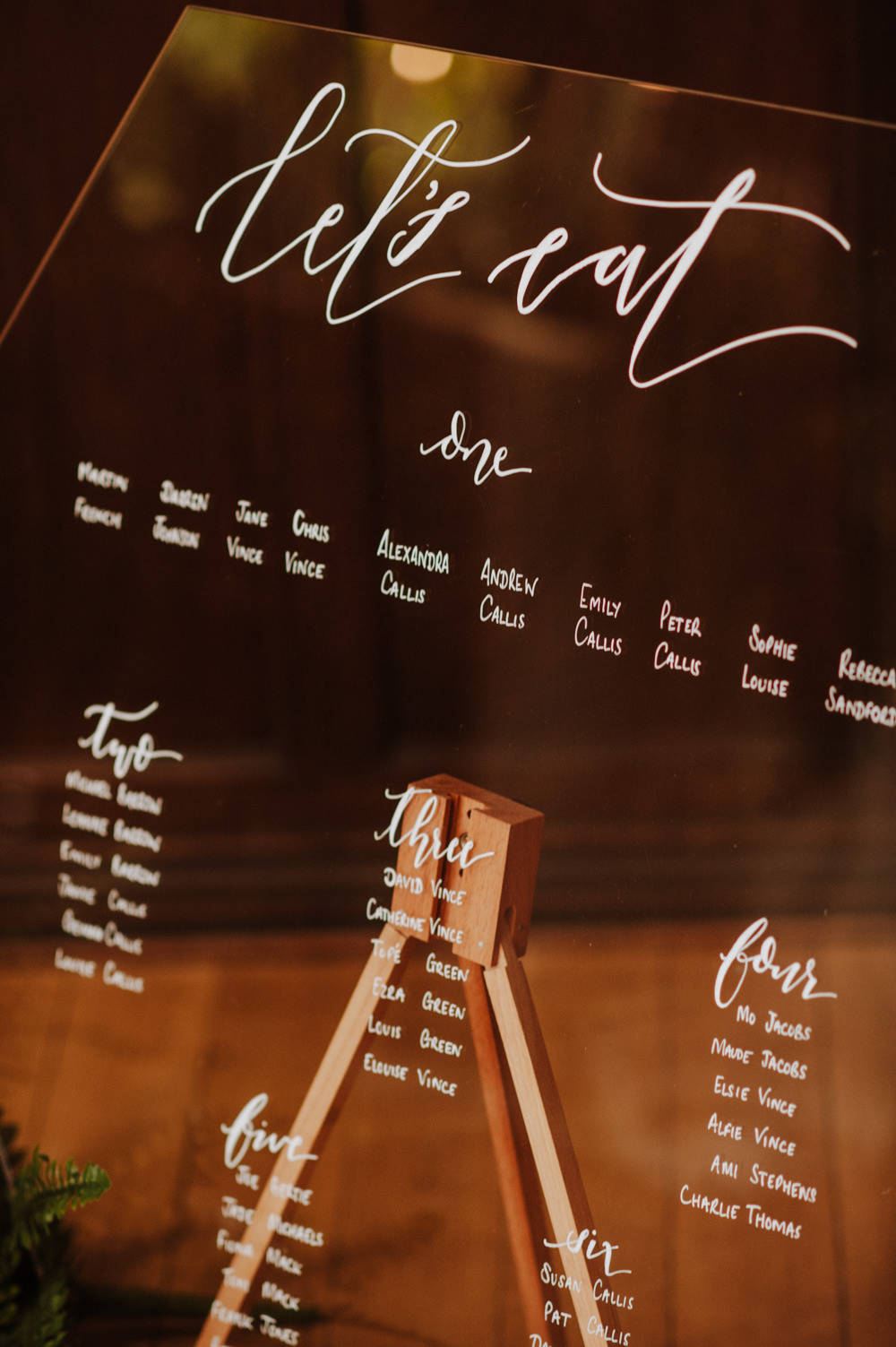 Glass Perspex Table Plan Seating Chart Modern Calligraphy Easel Organic Foliage Wedding Ideas Rubie Love Photography