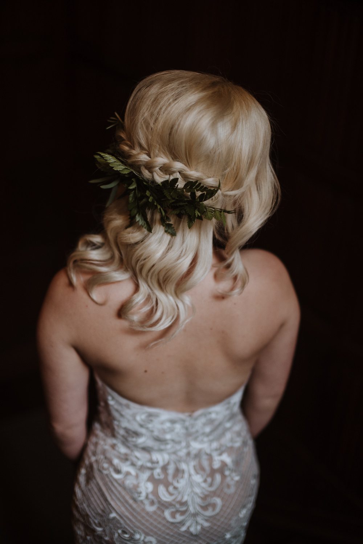 Bride Bridal Up Do Plait Greenery Hairstyle Organic Foliage Wedding Ideas Rubie Love Photography