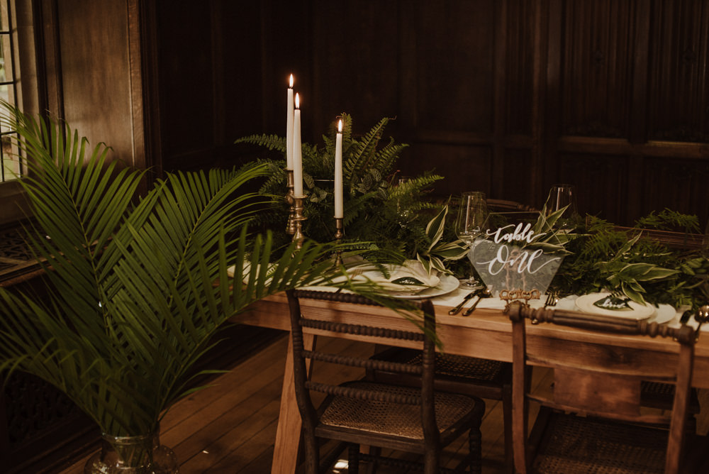 Table Setting Glass Perspex Number Fern Greenery Candle SticksOrganic Foliage Wedding Ideas Rubie Love Photography