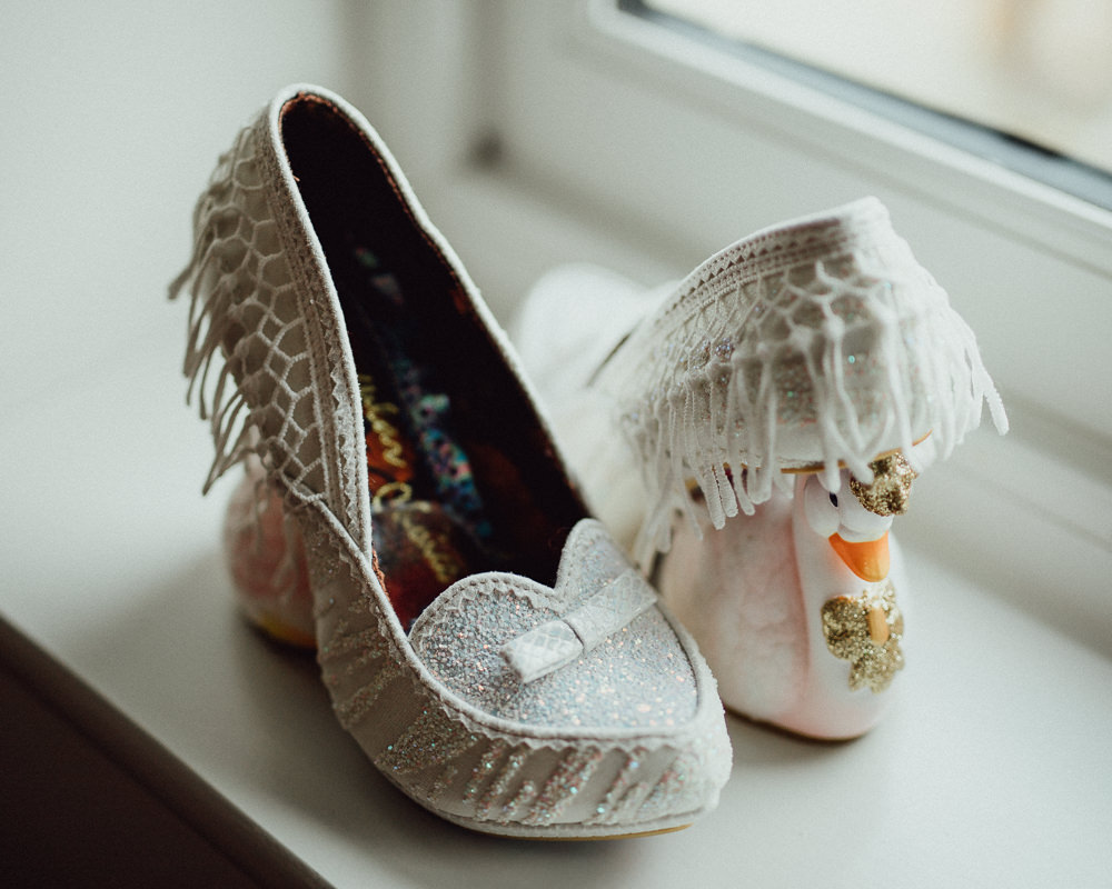Irregular Choice Shoes Swans Bride Bridal Oxleaze Barn Wedding Emily and Steve Photography
