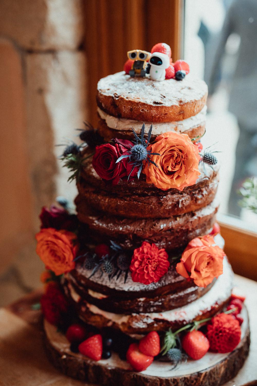 Naked Cake Victoria Sponge Flowers Icing Fruit Log Oxleaze Barn Wedding Emily and Steve Photography