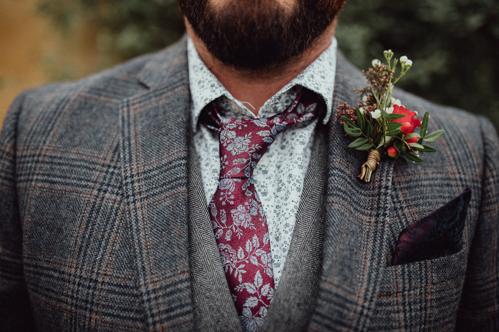 Groom Tweed Jacket Waistcoat Chinos Tie Mismatched Floral Buttonhole Oxleaze Barn Wedding Emily and Steve Photography