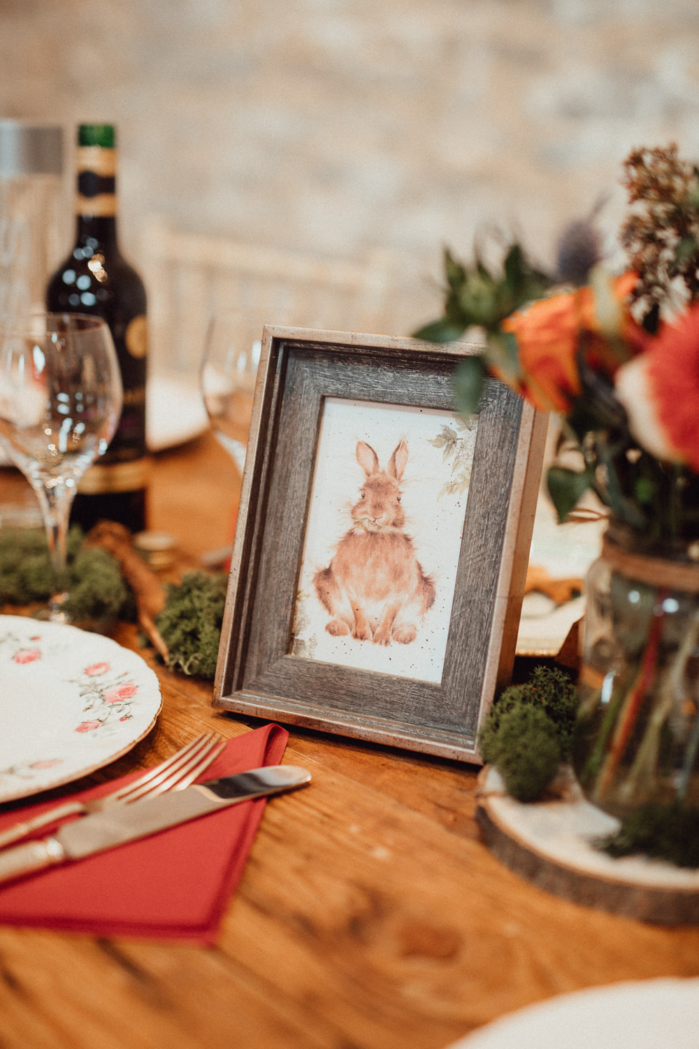 Rabbit Table Name Illustration Oxleaze Barn Wedding Emily and Steve Photography