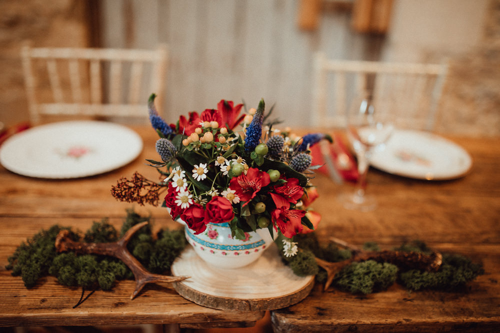 Tea Pot Cup Flowers Autumn Antlers Moss Log Slice Rustic Oxleaze Barn Wedding Emily and Steve Photography