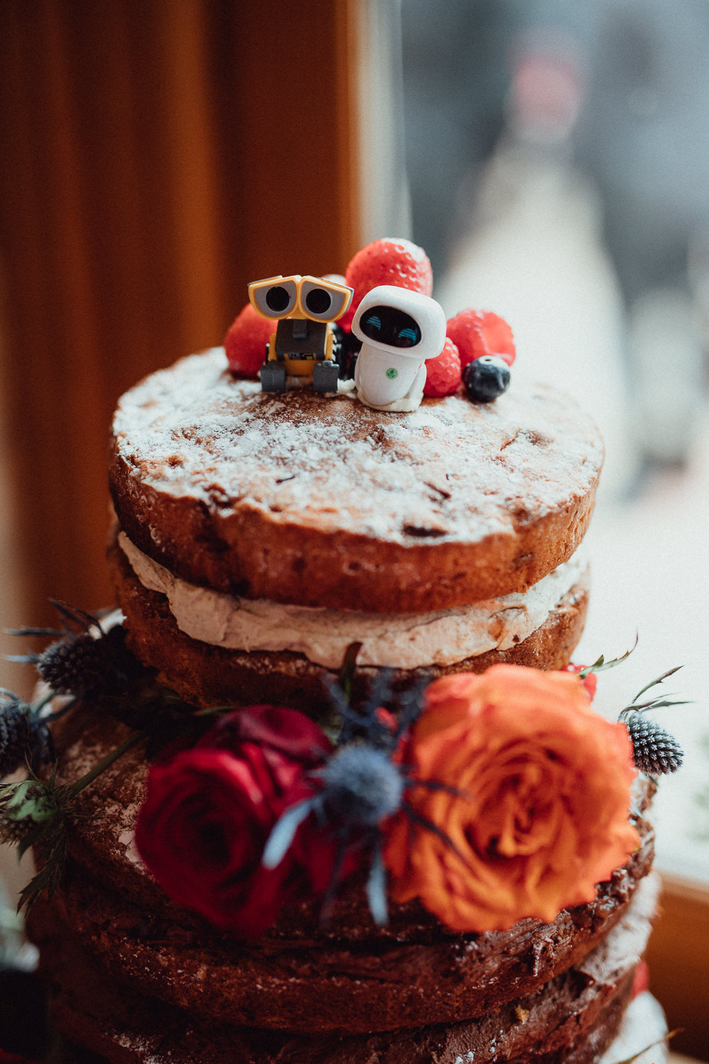 Naked Cake Victoria Sponge Flowers Icing Fruit Log Disney Pixar Topper Oxleaze Barn Wedding Emily and Steve Photography