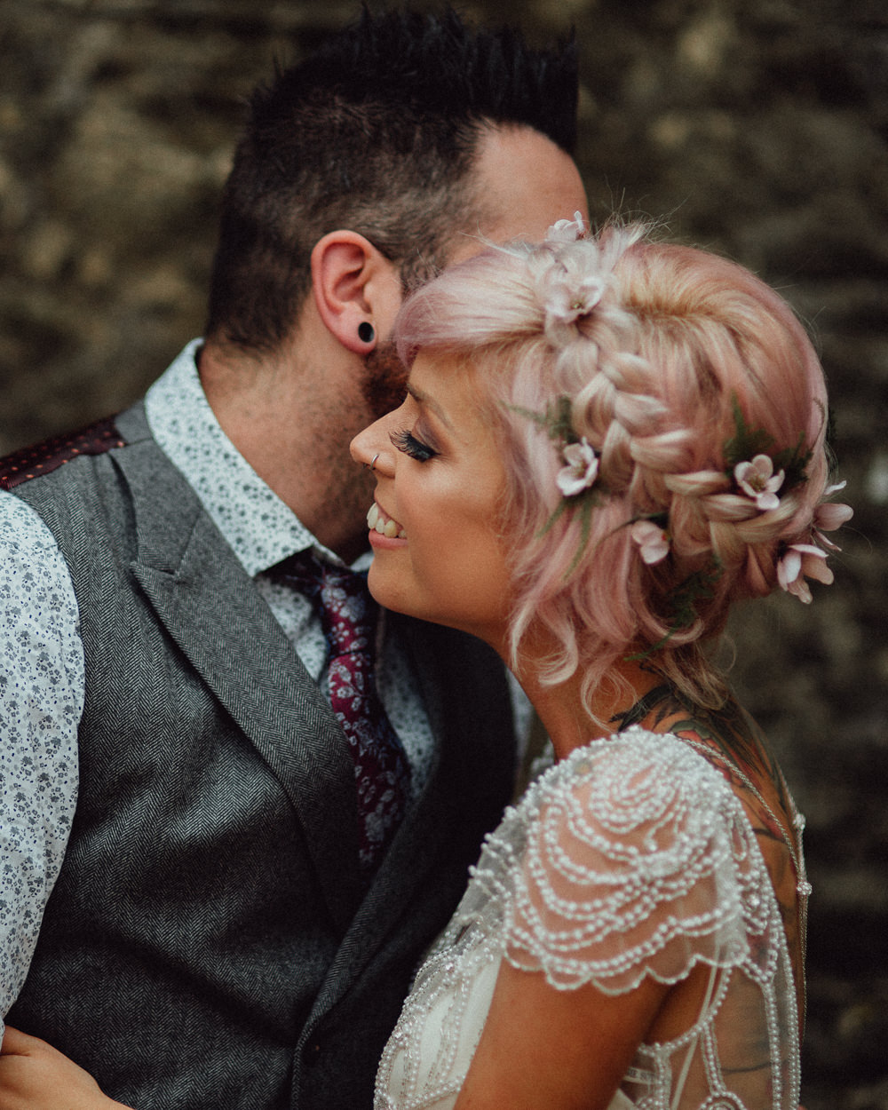 Make Up Hair Bride Bridal Pink Plait Braid Flowers Oxleaze Barn Wedding Emily and Steve Photography
