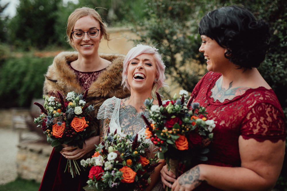 Burgundy Lace Dresses Bridesmaids Oxleaze Barn Wedding Emily and Steve Photography