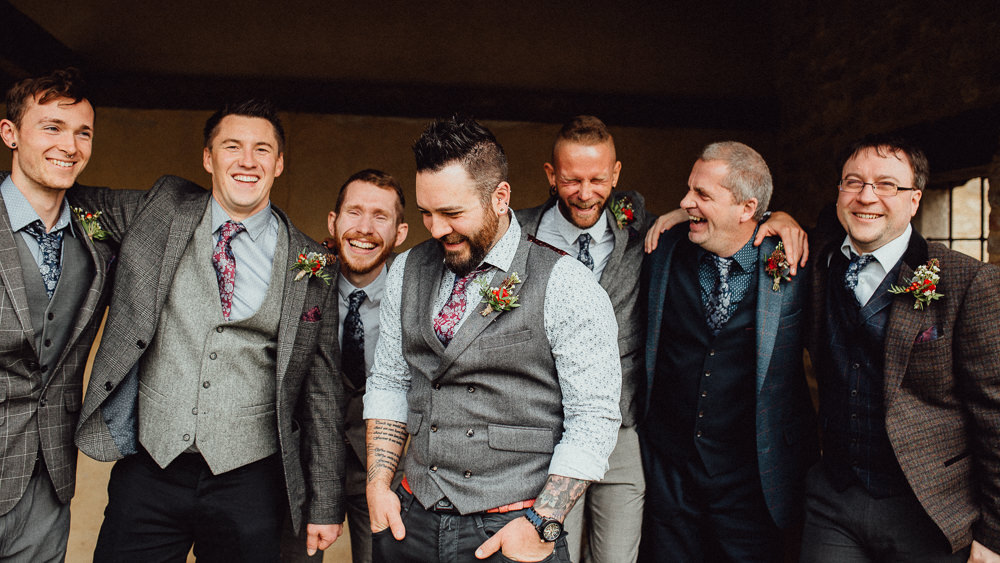 Groom Tweed Jacket Waistcoat Chinos Tie Mismatched Groomsmen Oxleaze Barn Wedding Emily and Steve Photography