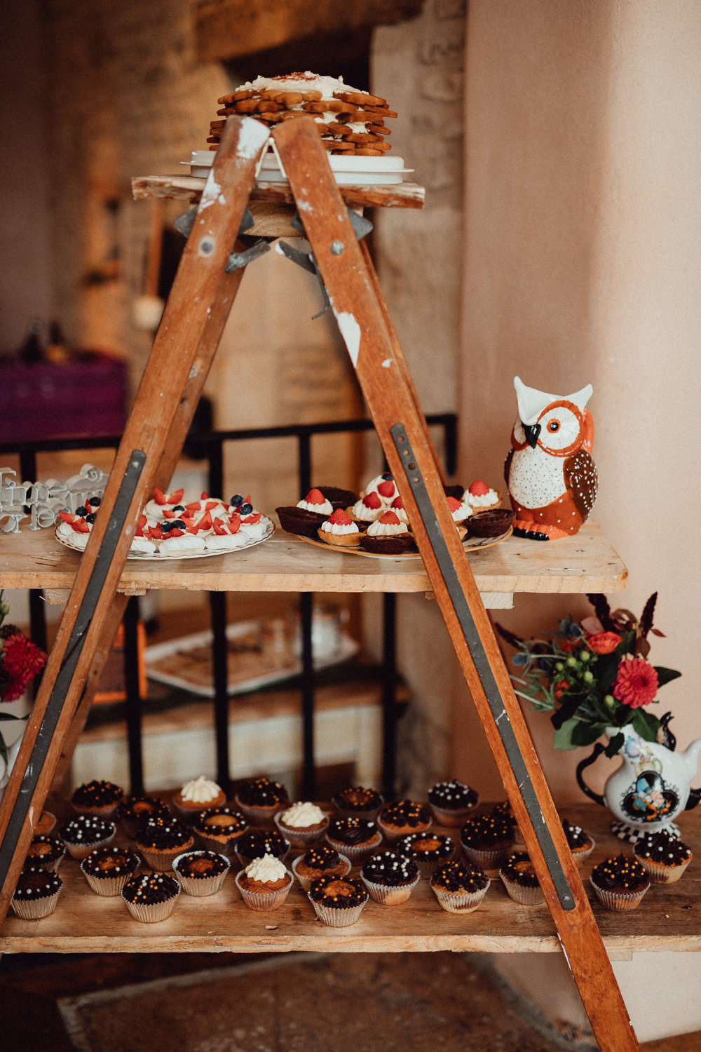 Wooden Ladder Dessert Table Cupcakes Oxleaze Barn Wedding Emily and Steve Photography