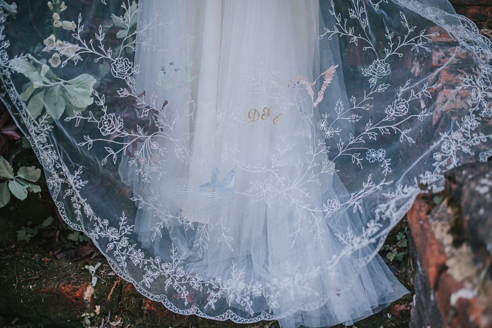 Embroidered Floral Veil Lace Initials River Romance Wedding Ideas Mindy Coe Photography