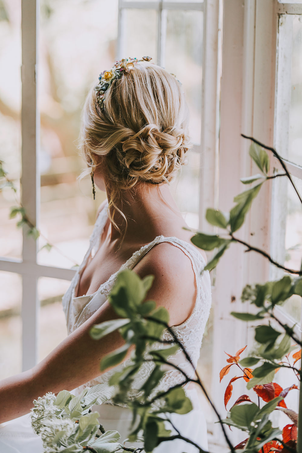 Hair Style Up Do Bride Bridal Plait Hairpiece Floral River Romance Wedding Ideas Mindy Coe Photography