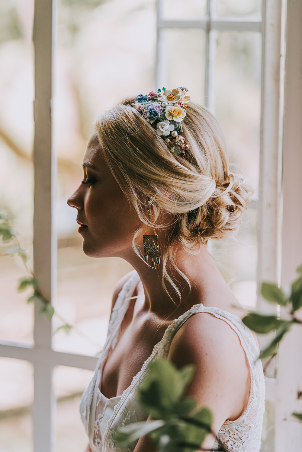 Bride Bridal Up Do Plait Hairstyle Floral Hairpiece River Romance Wedding Ideas Mindy Coe Photography