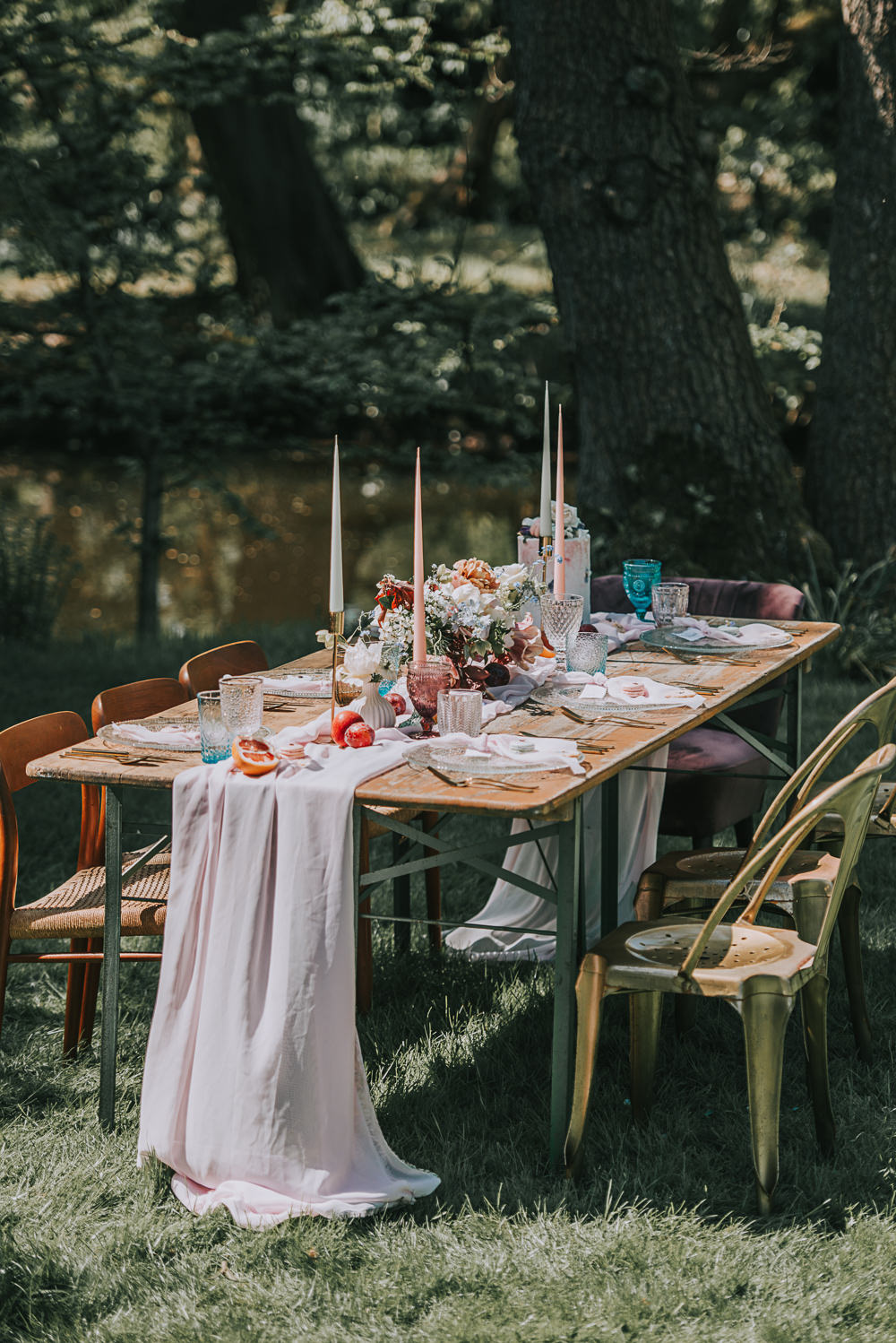 Tablescape Gold Chair Chiffon Table Runner Taper Candles River Romance Wedding Ideas Mindy Coe Photography